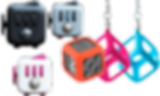 3 fidget cubes in varying colors, as well as 3 silicon keychain holders for the same cubes.