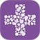 Curelator Logo, a purple square with a white plus sign made up of lots of little splotches