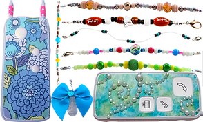 "2 different ponto streamers with decorative skins, a clip decorated with a blue bow, and 6 different beaded ""chains"""