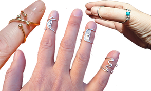 A pointer finger wearing a criss-crossed gold ring splint, a hand with splayed fingertips wearing 3 different stylish ring splints, and a hand from the thumb side showing a thumb splint decorated with a greenish jewel.
