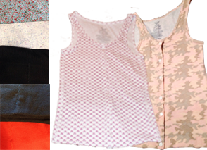 A column of fabric swatches next to 2 diferent patterned tank tops with button fronts