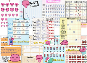 Small pig spoonie theme stickers and trackers.  For mood, sleep, anxiety, blod pressure, medication and more.
