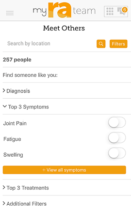 """Screenshot of My RA Team App, a white screen with """"My RA Team"""" at the top and black text below reading, """"Meet Others"""".  There is a search by location line, and below several drop-down categories to explore including, """"Find Someone like you:"""" """"Diagnosis,"""" """"Top 3 Symptoms, Joint Pain, Fatigue, Swelling."""" An orange button reads, """"View all symptoms"""", then more black text reading, """"Top 3 Treatments"""" and """"Additional Filters."""""""
