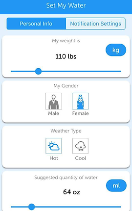 Screencap of Drink Water Reminder, a white screen with choices to set up your personal info including your weight, gender (male or female), weather, and suggested quantity of water.
