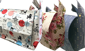 3 messenger style bags in differet patterns.