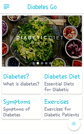 "Screenshot of Diabetes Go showing a photo of a large deconstructed salad. Below are 4 categories to choose from, ""Diabetes?- What is diabetes,"" ""Diabetes Diet- essential diets for diabetic,"" ""Symptoms- symptoms of diabetes"" and ""Exercises- exercises for Diabetic Patients"""