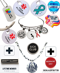 Medic alert charms, dog tags and necklaces, Spoonie and Illness themed pins and jewelry, and awareness jewelry