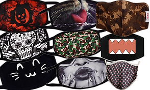 9 masks with different patterns.  In the first row of 3 the top has a red and black skull design, the 2nd has a black and white skull design, and the third has a cartoon cat emoji style face.  In the middle row, a photographic cats face is on top, a camo design is in the middle and a photographic image of a woman's lower face with puckered lips in black and white.  In the third row, the top is a more fitted mask with a brown camo pattern, the middle is a domo mouth, and the bottom is also a more fitted design in a silky fabric with abstract pattern.