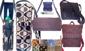 A variety of bags and cases for oxygen tanks, canisters and concentrators and a set of 8 fabric swatches.