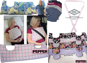 A pillow with 2 U-shaped dips for pos-mastectomy patients in a colorful patten of blues greens and yellows.  A row of tee shirts accessible for post-surgical patients, a pink drain tie, a white woman using a check patterned pillow at home and the car to protect post-mastectomy, anda set of pillows in differen patterns and colors