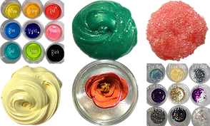 2 batches of small bowls, one has 9 in different colors, and 1 has 9 with different colored glitters in them.  In addition are 3 pileso f slime- yellow, green with sparkles, and pink textured slime.  Another slime is in a clear cup with a red rose in it.