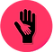 What's Up Logo, a bright pink circle with a black hand shape holding a smaller hand shape