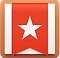 Wunderlist Logo, a white square with brown border and red ribbon down the center with white star in the middle