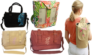 2 messenger style bags for holding oxygen tanks, a purse style bag for the same in black, a floral patterned backpack for inogen tanks, and a woman wearing a long thin bag with embroidery holding an oxygen tank.