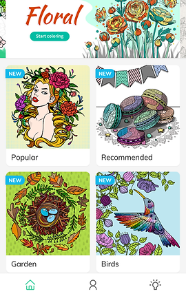 """Screenshot of Coloring Book for Adults App, a white screen with the word """"Floral"""" in bright red on the top left side, with a button below reading """"start coloring"""" next to a colored image of various roses.  Below are 2 columns of 2 coloring pages each.  One of a person with long blond hair adorned with flowers, another of a stack of colorful macarons, another of eggs in a birds nest surrounded by leaves, and the last of a hummingbird flying up to a flower"""