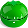 Pomodroido Logo, a green apple shaped kitchen timer