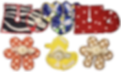2 rows of trach and tube pads in variying shapes and patterns.  Zebra stripes, hearts with tinkerbell, red and white polka dots, flower and rubber duck shapes.