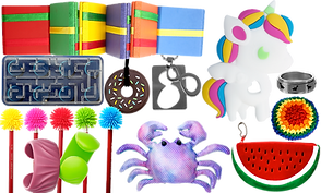 A variety of stim toys and jewelry including a jacob's ladder, plastic ball maze, chewable donut necklace, fidget figure 8 necklace, chewable unicorn, spinner dinosaur ring, rainbow weighted stress ball, watermelon shaped zipper bag, pink and purple colored sand-filled crab toy, koosh-style pencil toppers and 2 chewable bangles.