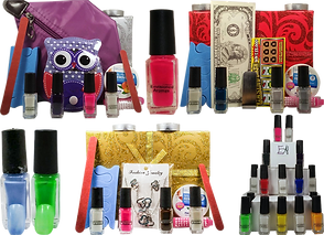 3 mancure sets of differing themes, they include polshes, emery boards, separators and more.  There are also 3 individual nal polishes, one red, one blue, one green, and a pyramid made of various nail polish bottles.