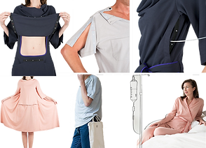 6 views of various patient clothes showing their features. The pieces are navy, gray or pink with back openings, snaps to lift stomach sections, ties, openings fo tubes and snaps at the shoulders.