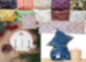 2 rows of hot/cold packs in different fabrics,  snowman decorated hot/cold pack surrouned by foliage and cherry pits, a long rectangular and square hot/cold pack, and a folded up stack of hot/cold packs next to a small basket of cherry pits