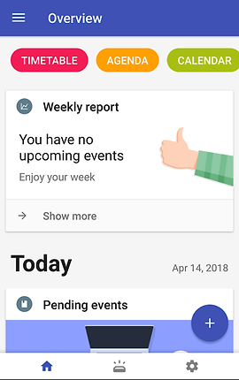 "Screenshot of School Planner App, a white screen with dark blue header which reads, ""Overview"".  3 Buttons are visible towards the top, ""TIMETABLE, AGENDA, CALENDAR""  Below is black text reading, ""Weekly Report.  You have no upcoming events, enjoy your week."""