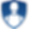 Pain Scale Logo, a blue shield sape with white silhoutte of simply drawn head and torso