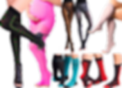 Legs wearing thigh high argyle compression socks with heels, a pregnant person in hot pink tights, 2 pairs of legs in patterned tights, legs in pink knee highs, and 4 pairs of knee high compression socks