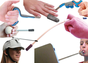 A range of white hands holding and using pointers an styluses.  A woman in a baseball cap with attached pointer, and a young girl using a mouth-directed stlus on a tablet.