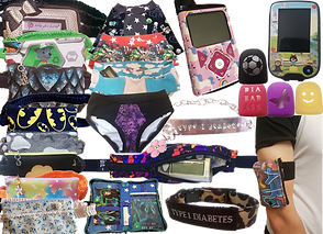 A column of 8 differet pump pouche in varying fabrics and patterns, a selectin of 4 pairs of underwear in different fabrics, one showing a pocket on the inner band.  2 glucose meters shown in different decals, a low-profle belted pocket for a glucose meter, an armband pocket, 4 dfferent pod covers with 3d printed cutout designs.  A doctor-who themed accessories folio and 2 different styles of T1 Diabetes ID bracelets.