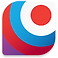 Spot On Period Logo, a round-edged square with red circle towards top right corner surrounded by a white circle, surrounded by a blue circle, surrounded by a red circle, surrounded by a bit of a purple circle