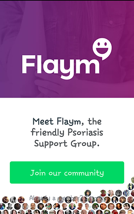 """Screenshot of Flaym App, a half purple, half white screen.  In the purple is white text reading, """"Flaym"""" with the flaym logo hovering over the letter m.  In the white half of the screen is black text reading, """"Meet Flaym,"""" the friendly Psoriasis Support Group.""""  At the bottom is a green button reading, """"Join our community."""""""