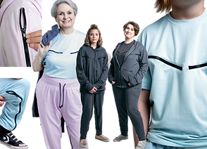 4 peopl wearing, t shirts, hoodies and pants that have zippered access areas to make IV and port access easier. Colors shown are dark gray, light blue and pink, all with black accents