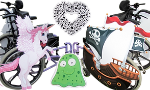 A wheelchair costumed with a flying unicorn, another costumed with a pirate ship, and 2 small panel decorations: a smiling reen slime character and a heart with musical notes in it.