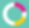 My Cycles Logo, a mostly white circular border with a yellow and pink patch on  pale green square background