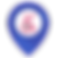 BillionAbles Logo, pink wheelchair symbol in white circle surrounded by a blue gps location shape