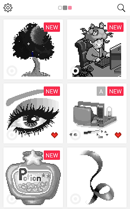 "Screenshot of Sandbox App, a white screen with settings icon in the top left, and a magnifying glass in the top right.  2 columns of 3 grayscale coloring images are shown, "" A tree, a person working at a computer, an eye, a machine of some kind, a potion bottle and a curled bit of ribbon."