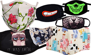 7 dust and fileing masks in different patterns and colors inclding animal mouths, lips and teeth, floral and others.
