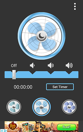 Screenshot of Sleep Aid Fan, a black screen with a blue and white fan head in the top half.  Below the fan is a slider bar to adjust the volume.  Under that is a timer function and different fan color options.  At the bottom is a banner ad.