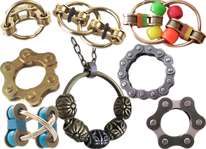 7 different fidget toys made from bike chain parts, and a fidget necklace made from a metal ring and beads