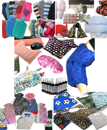 Various hot and cold packs, hot water bottles and aroma therapy bottles, heating pads and coves