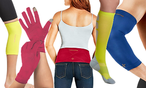 Various primary colored compression garments: tank top, gloves, socks, elbow sleeve