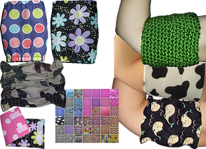 3 different hand-sewn cuffs designed to cove a picc line.  They are in different fabris and patterns, there is an image showing one of the cuffs folded on itself to show how it attaches, another photo of several color swatces, and 3 white arms wearing different covers- one green knit, one in a cow print, and one with whales