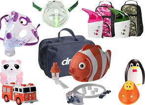 A nebulize mask deignd to look like a purple dinosaur, a green colored nebulizer mask, 2 small nebulizers in pink and green accordingly with matching camo cases, a nebulizer shaped and designed to look like a clownfish, and 4 othes that look like a pink panda bear, a fire truck, a penguin, and a cartoon character.