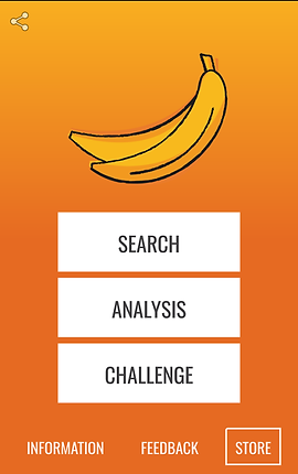 "Screencap of FODMAP Helper App, an orange and yellow gradient screen with 2 bunched bananas towards the top followed by 3 white rectangular buttons reading, ""Search"" ""Analysis"" and ""Challenge"".  At the bottom are the options for ""Information,"" ""Feedback"", and ""Store""."