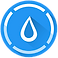 Hydro Coach Logo, A blue circle with white ouline of a water drop with a broken border around the circle in white