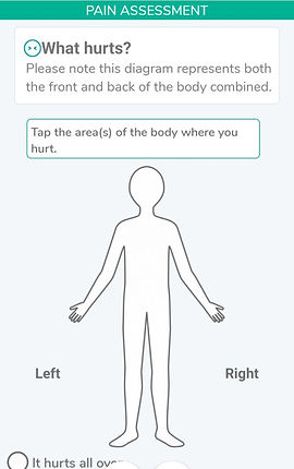 """A screenshot fro the Ouchie app. In the center is an outline of a person with left and right labels.  At thetop a header reads, """"PAIN ASSESSMENT"""".  Text in the screen reads, """"What hurts? Plese note this diagram represents both the front and bck of the body combined.""""  A box surrounds text reading, """"Tap the area(s) of the body where you hurt."""""""