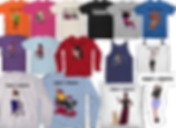 3 rows of tee, tank, and sweatshirts with a diverse populatio of races and genders representing a variety of disabilities and mobilty equiment. There is also a tote bag, pillow, and sticker.
