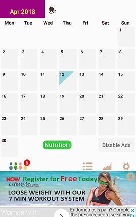 "Screenshot of My Days App, a white screen with the April 2018 calendar over it in black text and numbers.  At the bottom is a button for ""nutrition"" and another to disable ads.  There's a banner ad along the bottom of the screen."