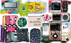 Many different diabet meters with dcals on them from ones that have a metallic look to some with hearts and rainbow colors, leaves, leopard print, a comic book theme and stripes.  A supply bag with robots on it, a pruple bag open to show supplies, a pink bag open to show supplies and several pod-site tape covers.